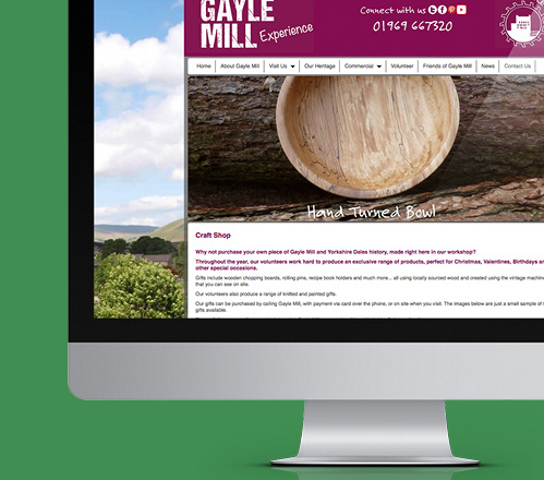 Craft shop page from Gayle Mill website