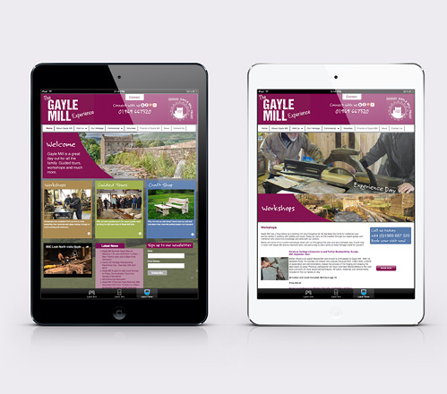 Gayle Mill website displayed across two tablet devices
