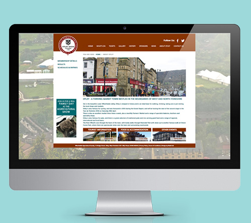 Otley Show new website about page displayed on mac