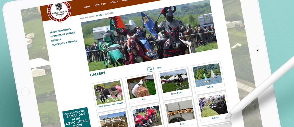 Otley Show website gallery displayed on tablet