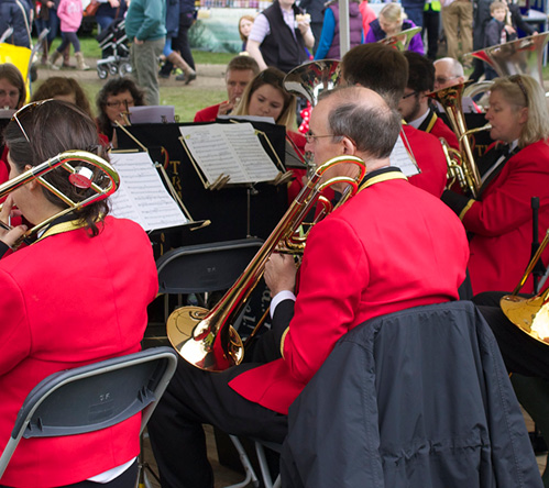 Brass band performing at Otley Show 2016
