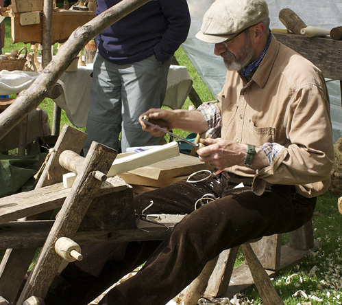 Woodworker in action at Otley Show 2016