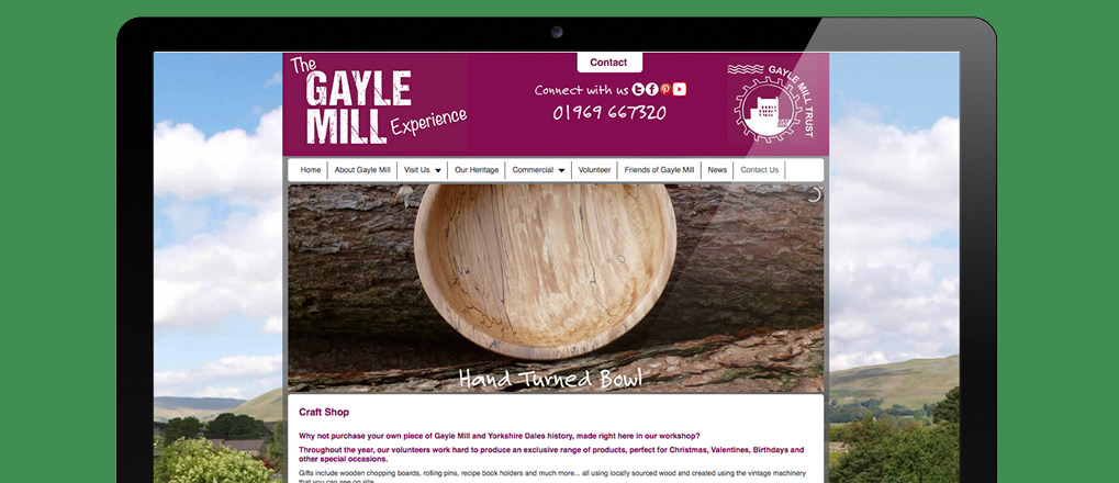 Craft shop page from the Gayle Mill Trust website