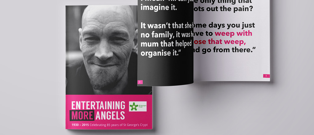 Front cover of the book we designed and created for homeless charity St George's Crypt in Leeds