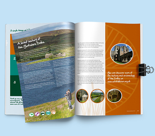 Double page spread from a brochure we designed for Yorkshire Dales National Park